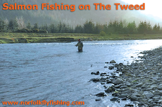 Salmon fishing on the Tweed in Scotland, March 2009